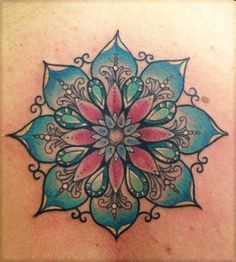 mandala and flower tattoo | Color Mandala Flower Tattoo For Women