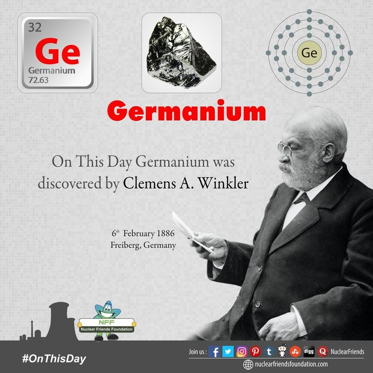 #OnThisDay #Germanium was discovered on this day!  Clemens Winkler came upon this chemical element in 1886 as he was analysing the composition of argyrodite a rare mineral found at a silver mine in Germany. He named his new discovery after the Latin word Germania the namesake of Germany. Sixteen years before Dmitri Mendeleev had predicted its existence based on the gap between silicon and tin which he noted in his newly created Periodic Table of Elements.  Reach us…