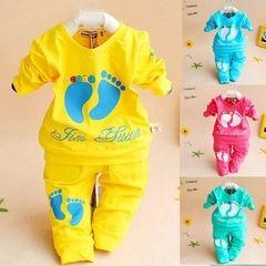Дети весной и осенью новый мужского и женского пола ребенка хлопка костюм 0-1 лет детский мультфильм свитер детские одежду