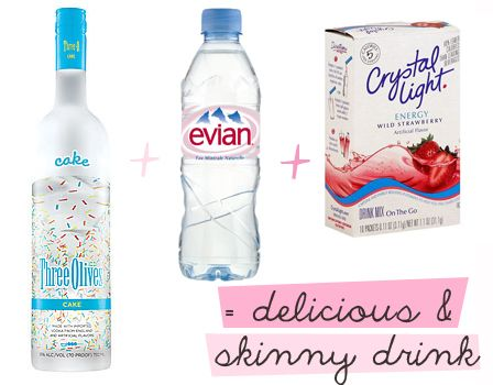 Skinny drink. Water keeps you hydrated for less chance of a hangover and the word on the street is that it is SO yummy :)