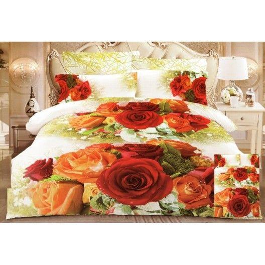 Biele 3D posteľné obliečky s farebnými ružami