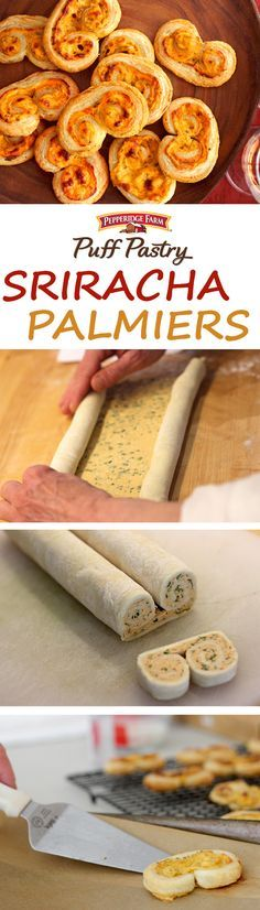 Puff Pastry Sriracha Palmiers Recipe. If you're as crazy about that chili sauce as we are, here's an amazing appetizer that you'll love. These palmiers feature a combination of cream cheese, hot sauce, onion and Parmesan cheese rolled up in Puff Pastry and baked until golden. Give them a try, they're unbelievably delicious.