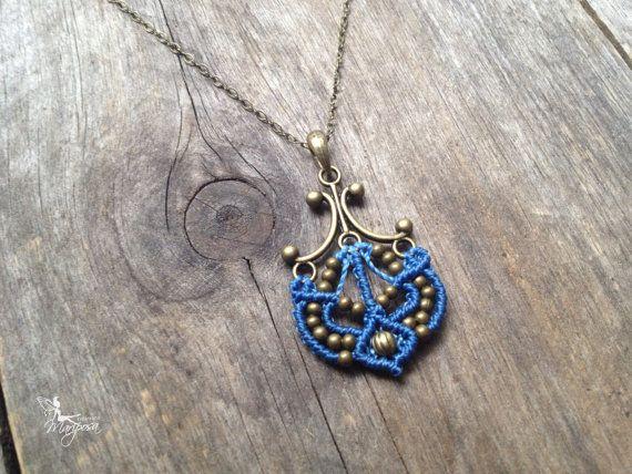 Micro macrame necklace anchor in sky blue macrame pendant boat nautical chain antique bronze boho jewelry hippie