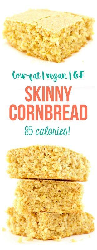 Skinny Cornbread! Low-fat & only 85 calories! #vegan #glutenfree #lowfat