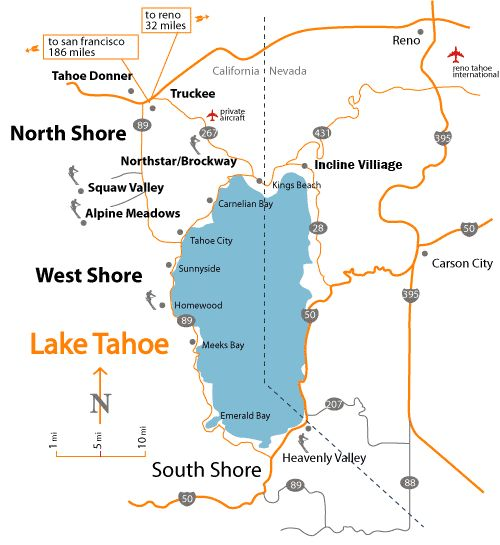 Lake Tahoe Map - Bing Images
