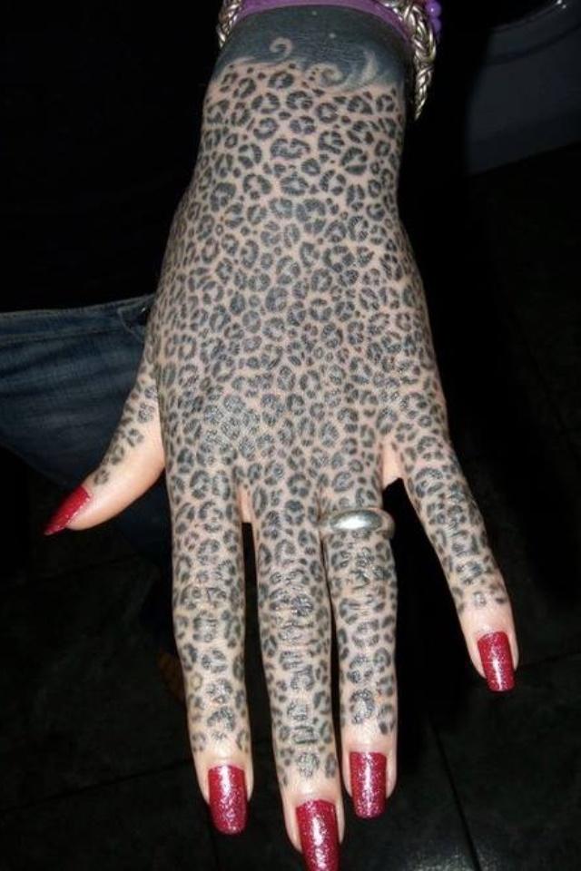 Full Hand Tattoo: Leopard Full Hand Tattoo