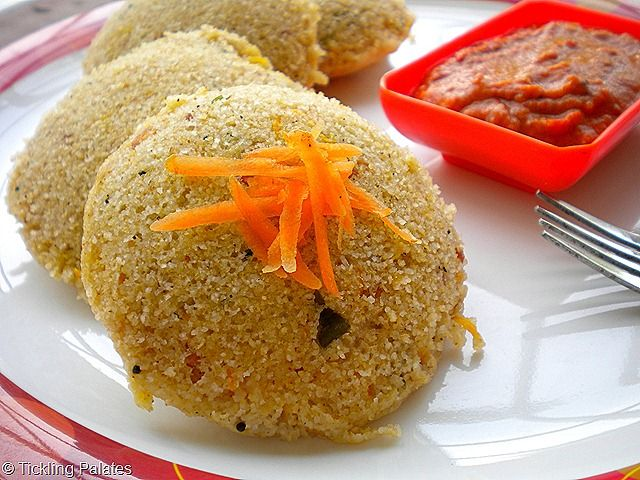 Savory, steamed, Instant Oats Idlis for breakfast