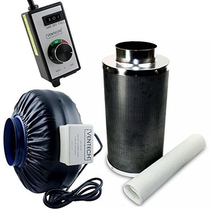 VenTech VT IF6+CF6-B Inline Exhaust Blower Fan with Carbon Filter and Variabl...