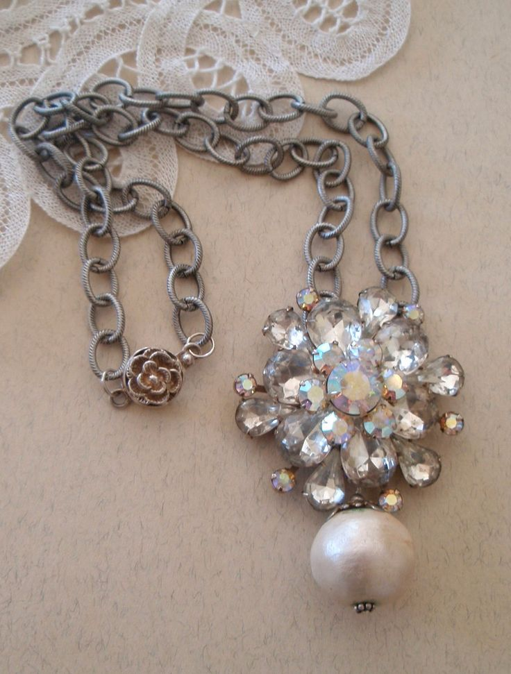 Vintage Rhinestone Broach Necklace on an Oxidized Cable Link Chain with Sterling Silver Flower Box Clasp