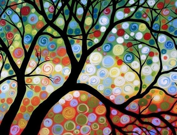 Colourful tree by Painting PrintsPainting Art, Art Cards, Artsy Stuff, Painting Prints, Trees Murals, Art Projects, Colours Trees, Amy Giacomelli, Glossy Prints