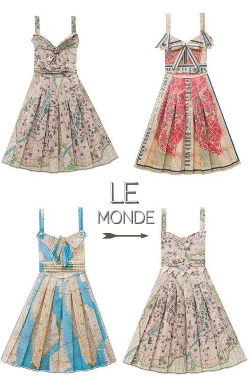 Origami dresses made from maps