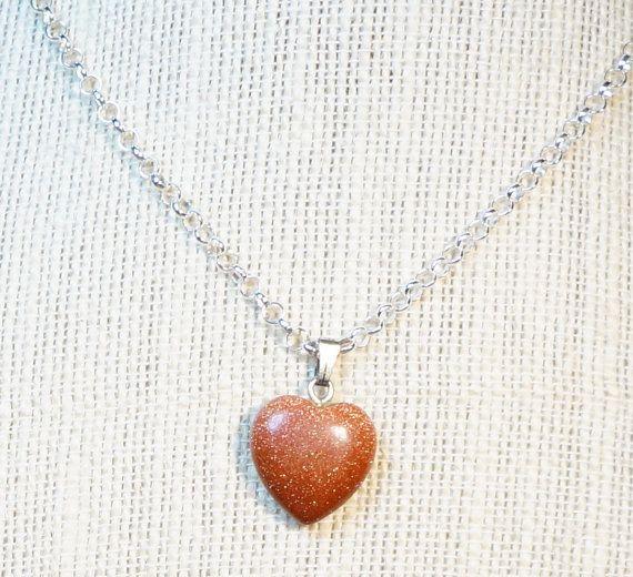 Heart Pendant necklace / Goldstone heart pendant by SunMoonJewels
