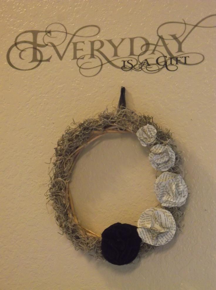 Wall Decor Stickers Dollar Tree : Grape vine wreath spanish moss sheer black ribbon
