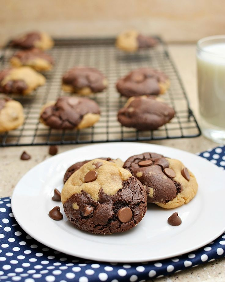 Peanut butter and chocolate chocolate chip cookies are delicious combo of 2 cookie doughs and so delicious!
