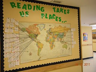 A Teacher's Treasure: bulletin boards. Teacher uses settings from books to track on a map. Great idea.