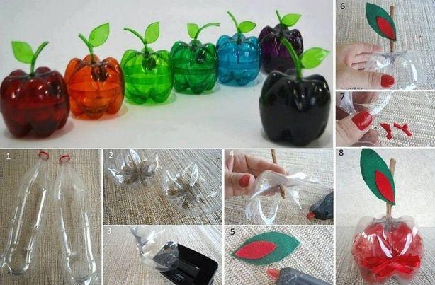 Appel uit twee lege flessen...  Des pommes à partir de bouteilles en plastique....