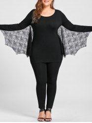 Plus Size Halloween Tulle Panel Bat Top