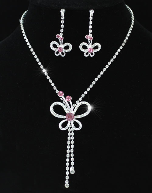 Pink Butterfly Crystals Necklace Earrings Set