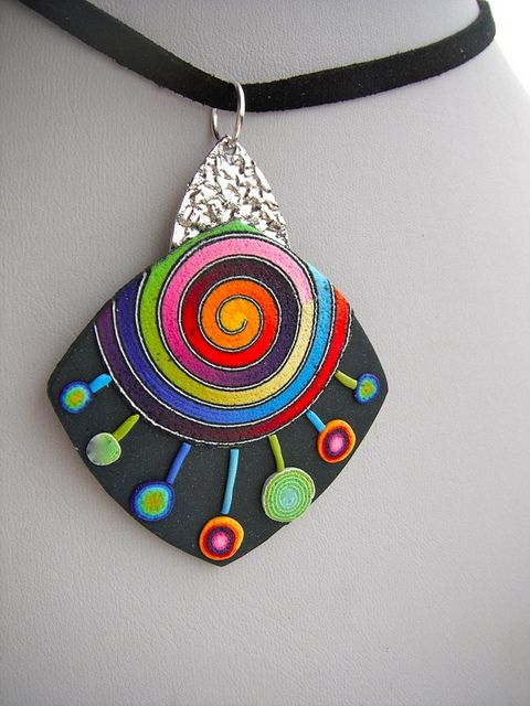 Mabcrea Art, by  Cecilia Botton.  PMC in silver,  and polymer clay pendant #Polymer #clay #jewelry