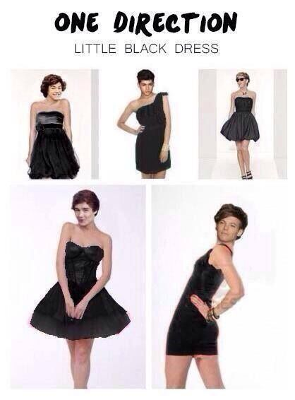 Little black dress I just realized their heads were photo shopped on . I knew this is weird . But I really like Niall's dress ! Lol