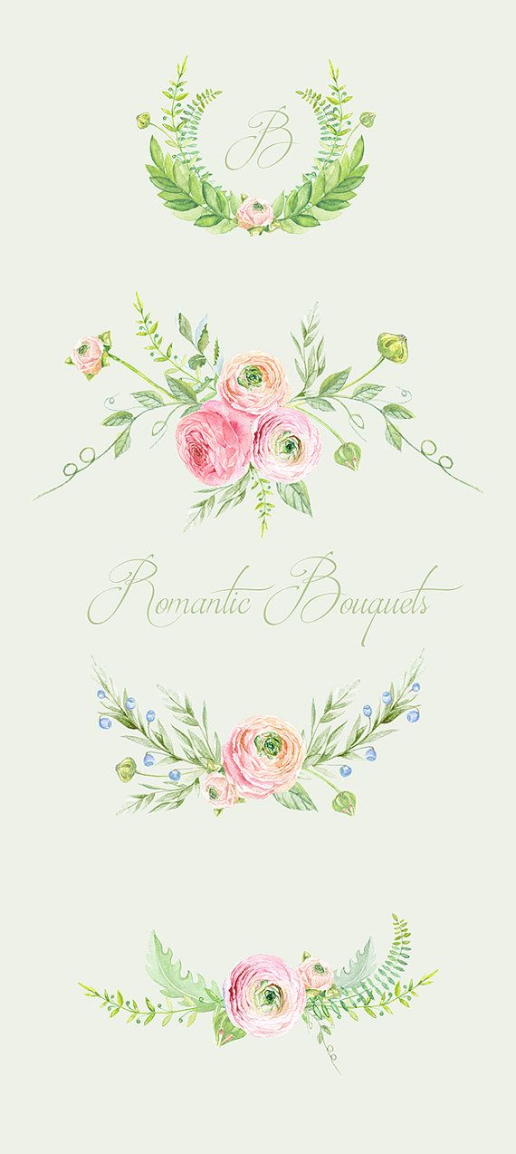 Ranunculus Bouquets Flowers Hand Drawn Clip Art by ReachDreams                                                                                                                                                                                 Más