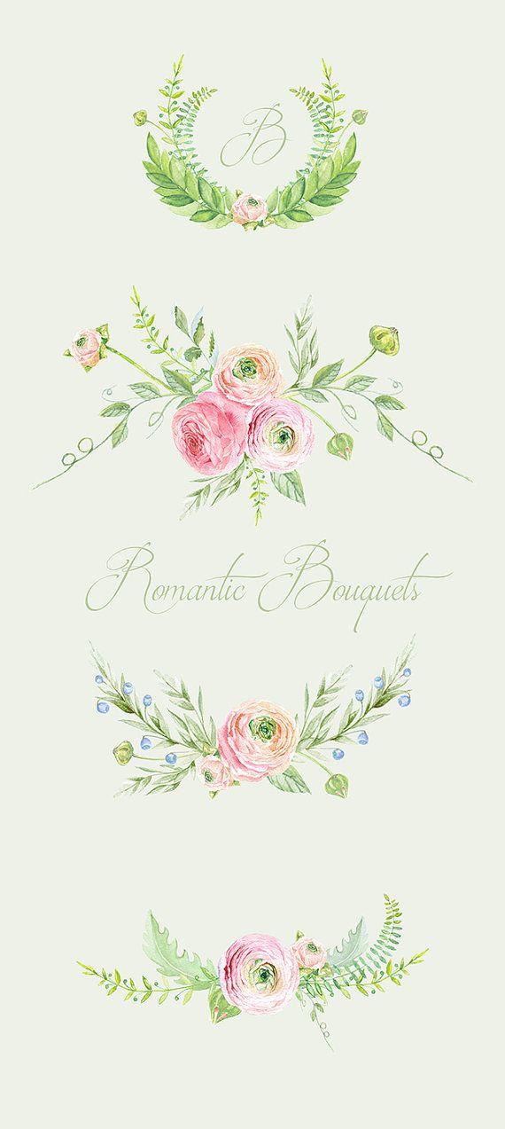 Ranúnculo Ramos flores mano dibujada Clip Art por ReachDreams