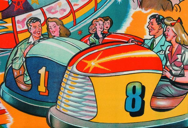 Vivid detail from the Taylor's poster showing the classic thrill of the Dodgem ride.