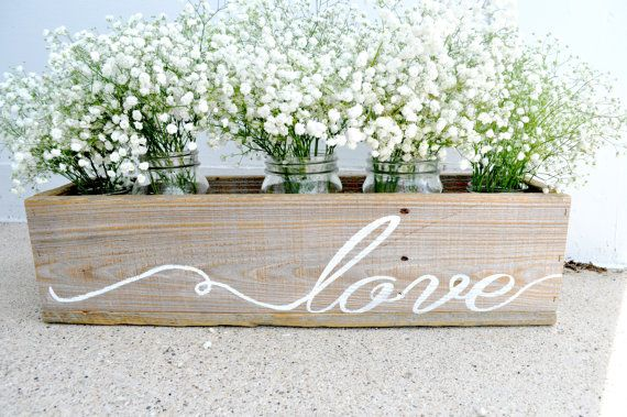 Reclaimed Wooden Planter Natural Wooden Flower Box Hand Painted Love Planter, Wedding Centerpiece, Wooden Wedding Decor, Wedding Love Sign