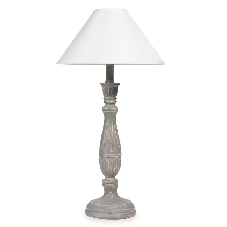 Lampada grigia effetto patinato con abat-jour bianco MARGAUX