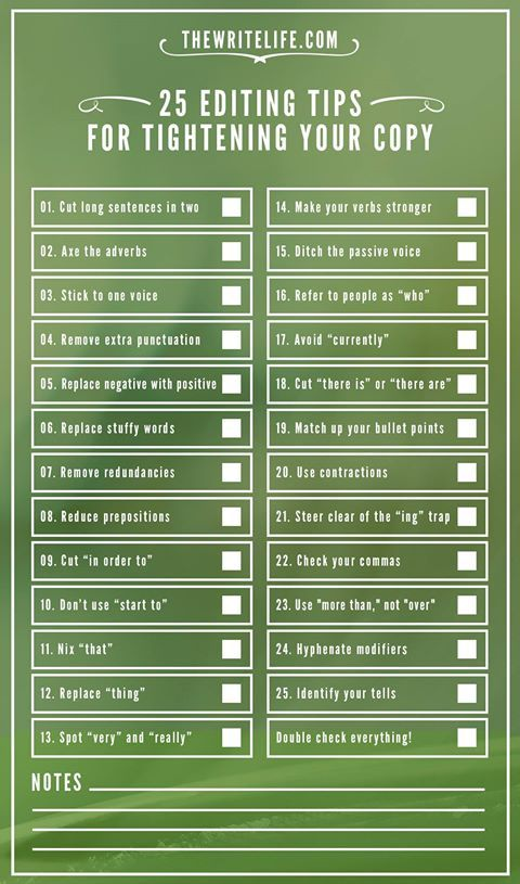 25 editing tips for tightening your copy #Writing