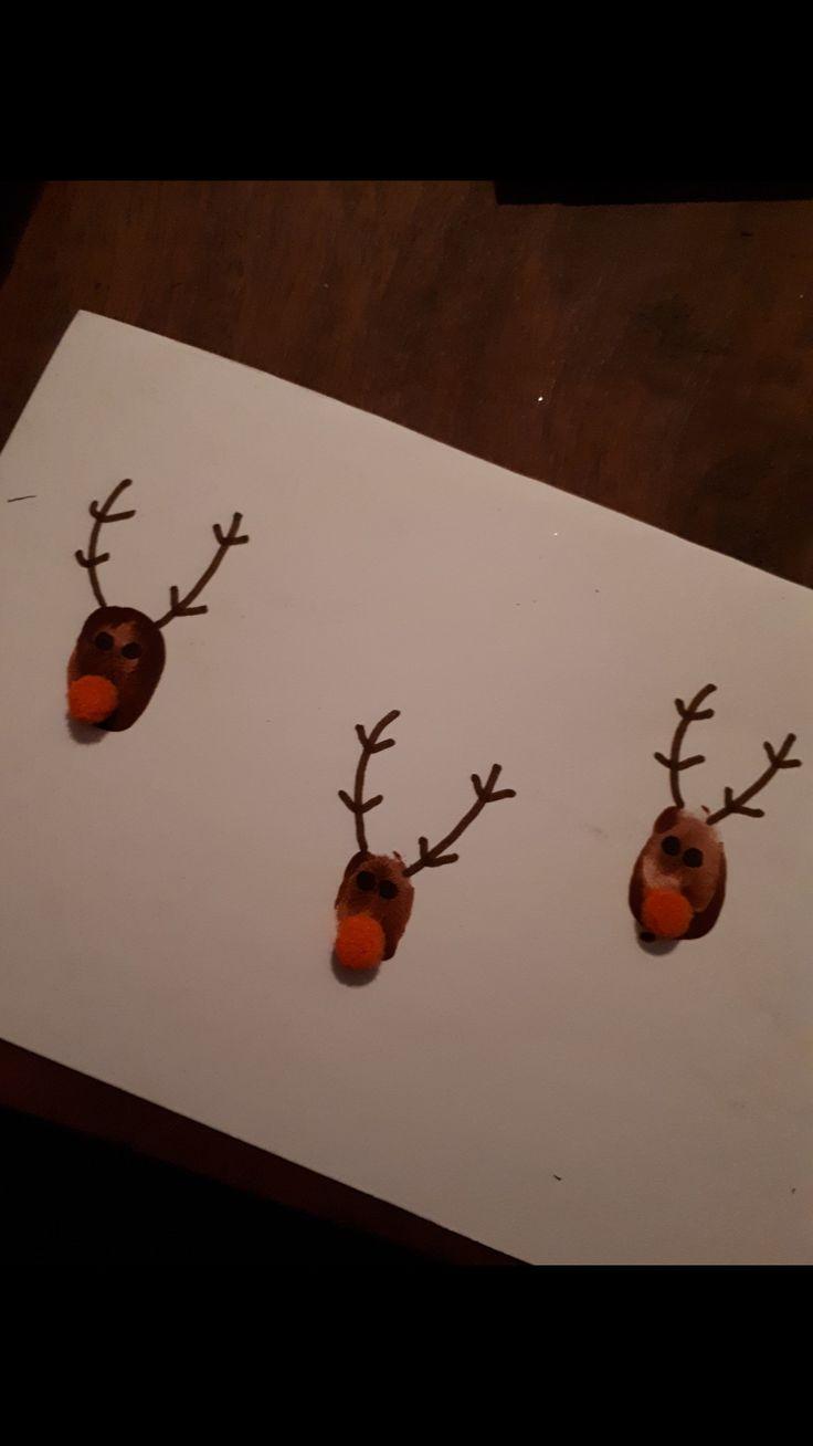 #rudolph #fingerprint #kindergarten #kids #christmascard