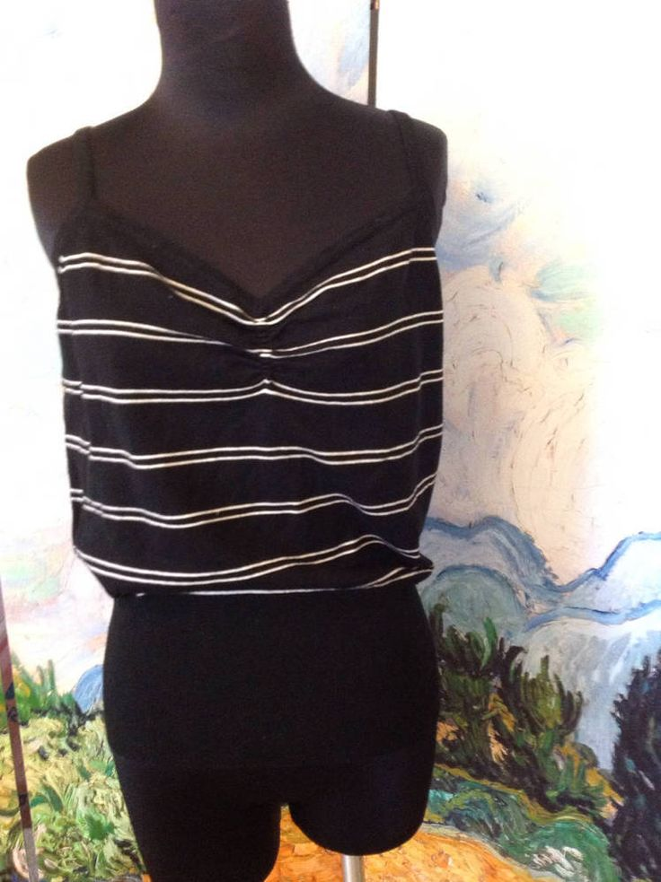 MOSSIMO XL NEW EVENING BLACK STRIPED CINCHED FRONT SILK BLEND SWEATER CAMI TOP  #Mossimo #TankCami #Clubwear