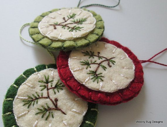 Set of 3 Wool Felt Ornaments Evergreen Branch by WoollyBugDesigns