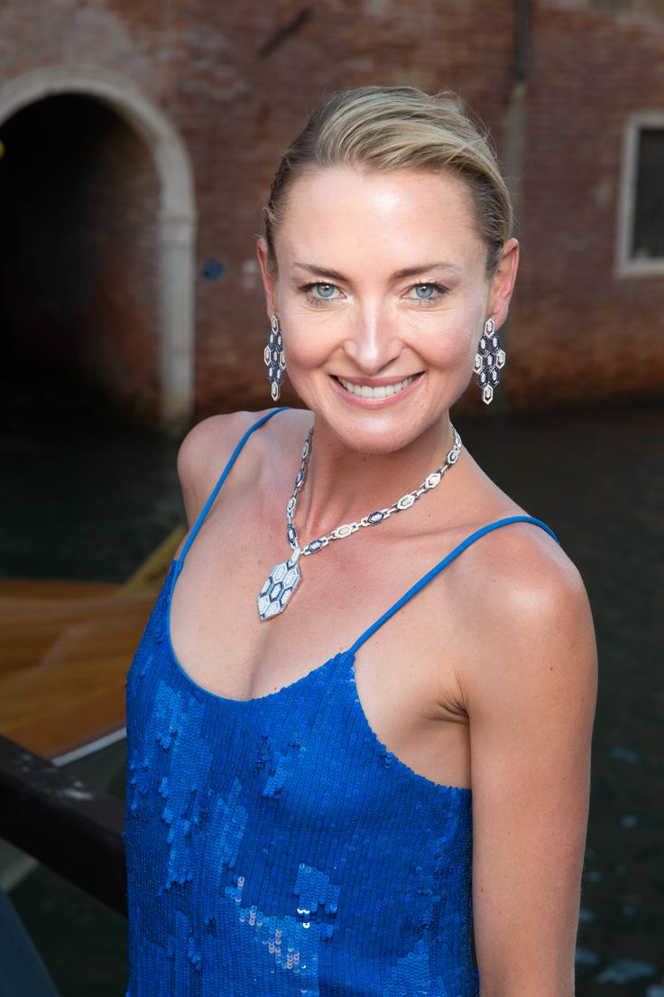 Lilly zu Sayn Wittgenstein-Berleburg at Bulgari Festa event in Venice, Italy, June 2017. Lilly zu wears sequin cobalt blue dress with sapphire and pavé set diamond Serpenti necklace and earrings. To see more Bulgari style: http://www.thejewelleryeditor.com/brands/bulgari/