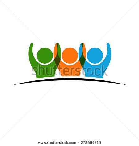 Three people logo holding hands. Concept of Group of People, happy team, victory