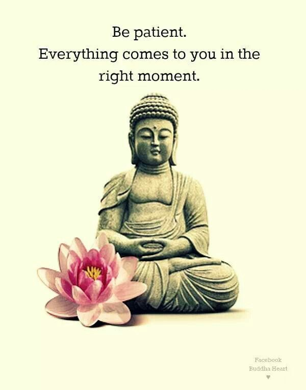 "Zen buddha quote: ""Be patient. Everything comes to you in the right moment."""