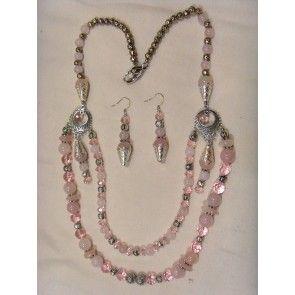 Tumbled Rose Quartz chip necklace, 77cm