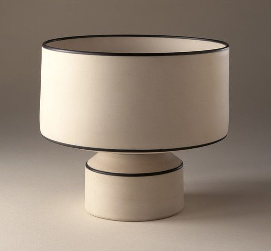 Nicholas Homoky, White Pedestal Bowl, 1980, Porcelain, Mason Stain slip / LAMCA