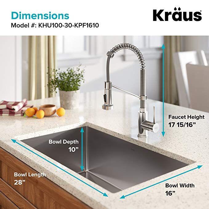 Kraus Khu100 28 Kitchen Sink 28 Inch Stainless Steel Undermount Kitchen Sinks Single Bowl Kitchen Sink Double Bowl Kitchen Sink