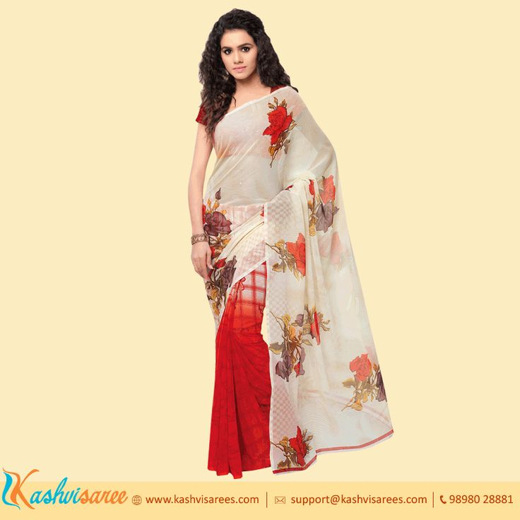 A beautiful Synthetic Georgette saree in red bottom and white floral print pallu is perfect for anytime of the day look.