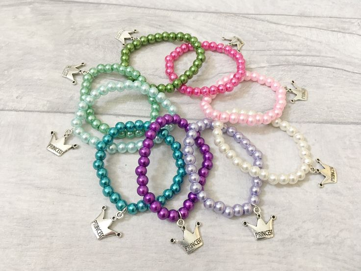 Princess Bracelets, Party Bracelets, Girls Bracelet, Party Gift, Party Favours, Loot Bags, Party Bag Fillers, Princess Party by BeadKids on Etsy
