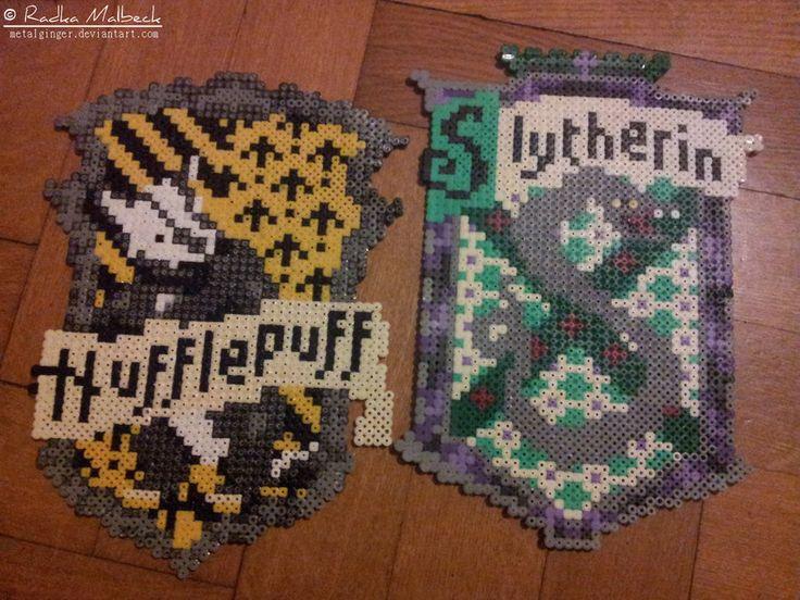 Hufflepuff and Slytherin - Harry Potter hama perler crests by MeTaLGiNGeR