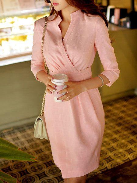 Shop Mini Dresses - Work 3/4 Sleeve V Neck Plain Mini Dress online. Discover unique designers fashion at StyleWe.com.