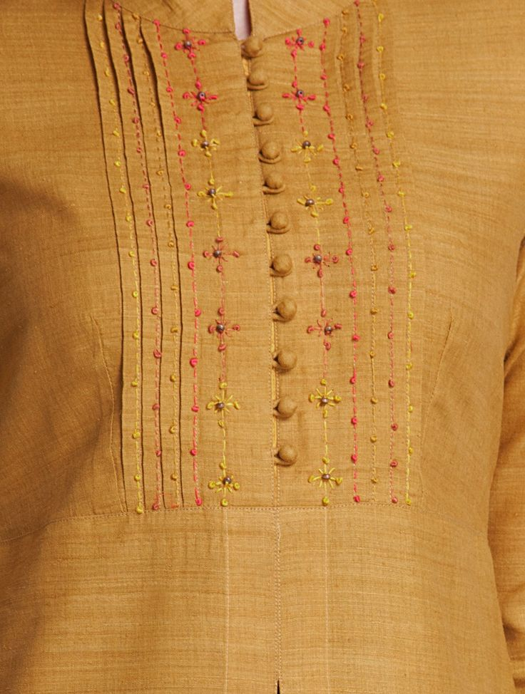 Buy Mustard Mandarin Collar Thread Embroidered Matka Silk Kurta Apparel Tunics…