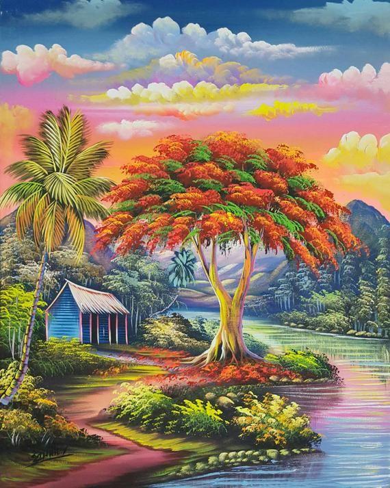 Pintura De Arbol Extravagante Pintura Al Oleo Colorido Lienzo De Paisaje Obras De Arte Dominicanas Arte Haitiano Arte Tropical Pintura Original 24x30 Pinturas Rurales Pintura De Arbol Arte Tropical