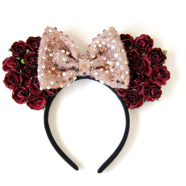 Rose Mickey Ears, Flower Mickey Ears, Belle Mickey Ears, Floral Mickey... (78 BRL) ❤ liked on Polyvore featuring accessories and disney