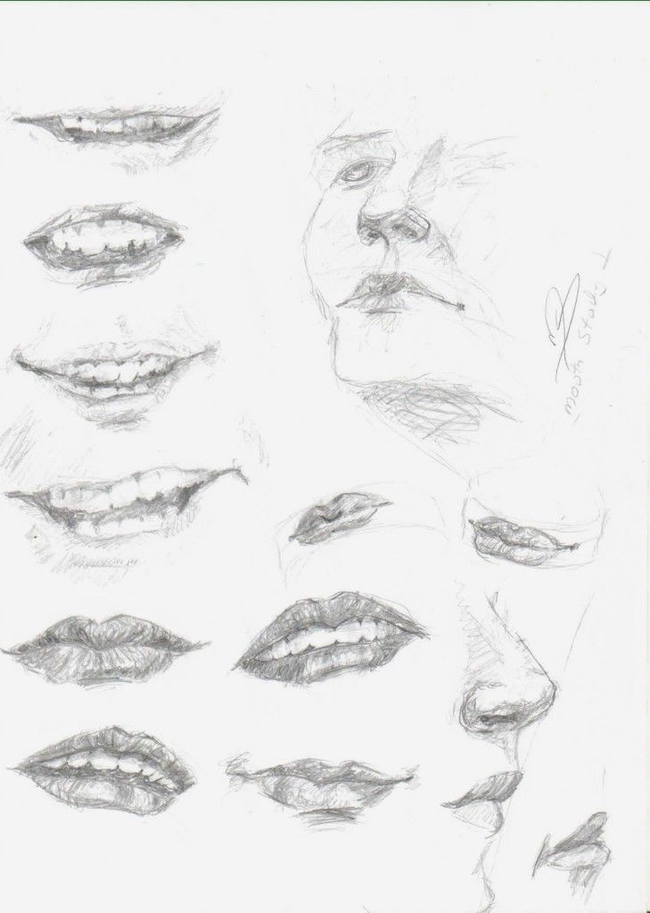 how to draw lips from different angles