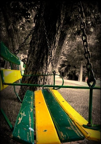 Always loved sitting in the swings :) And no, I didn't share them with anyone...no, definitely none of that silly spouse hunting for me. When I was on a swing, it was all mine. :P