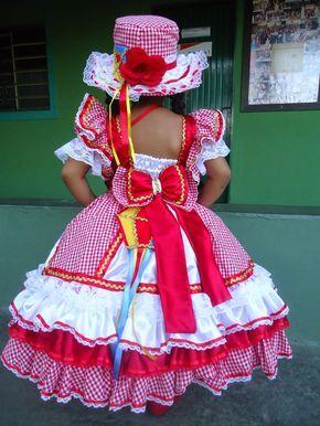 sonhar e criar: vestido de quadrilha infantil vermelho e branco