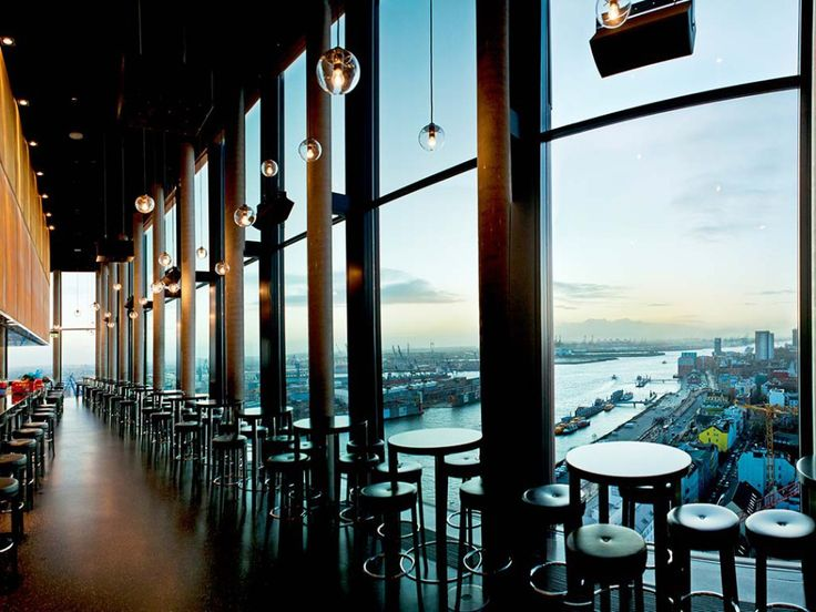 """""""After a long day of shopping and for a great cocktail with a killer view I recommend the bar 20 Up on the very top floor of the Riverside Hotel. For some reason the harbour, the cranes and all the container ships have a very romantic effect and mesmerises me every time I see it."""" #hamburg #travel #guide #bar #cocktails #panorama #scenery #lounge"""